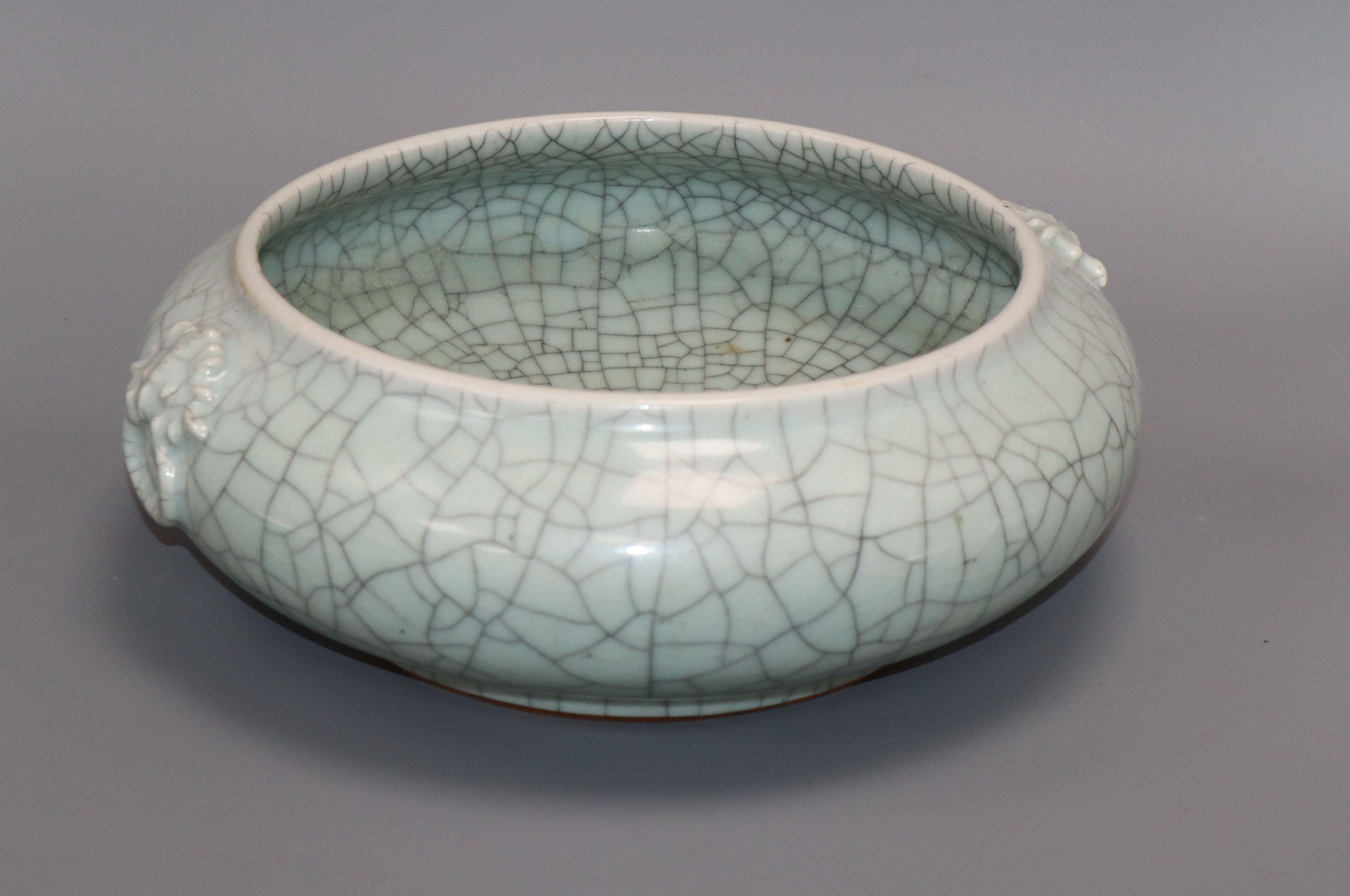 Lot 32 - A large Chinese celadon crackle glaze censer height 11cm