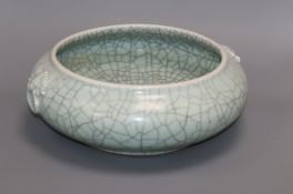 A large Chinese celadon crackle glaze censer height 11cm