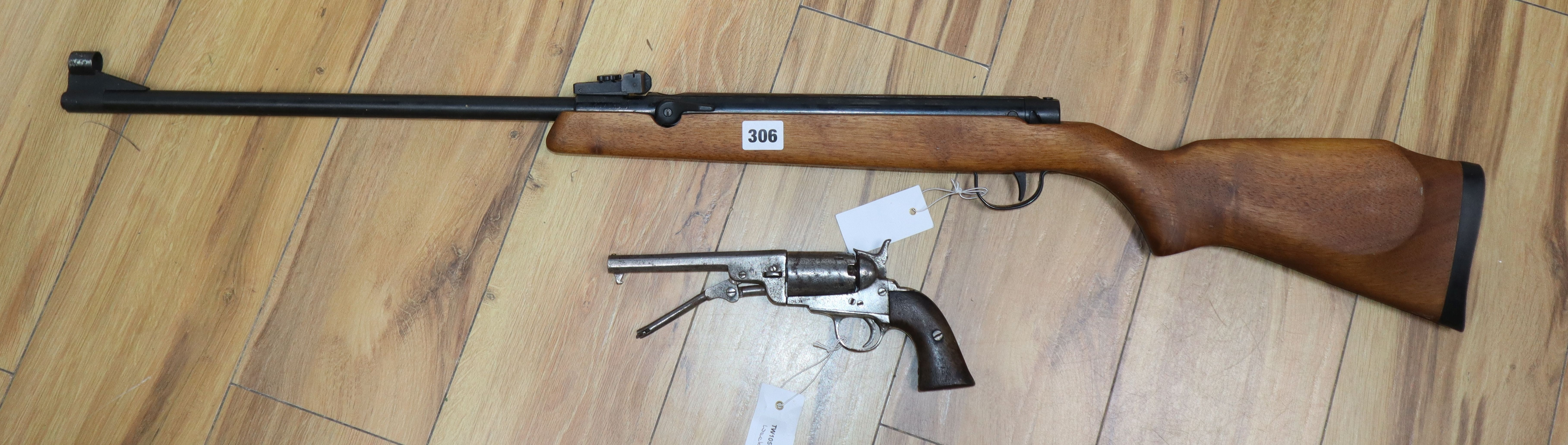 Lot 306 - A percussion Colt-pattern revolver and an Osprey air rifle by Osprey
