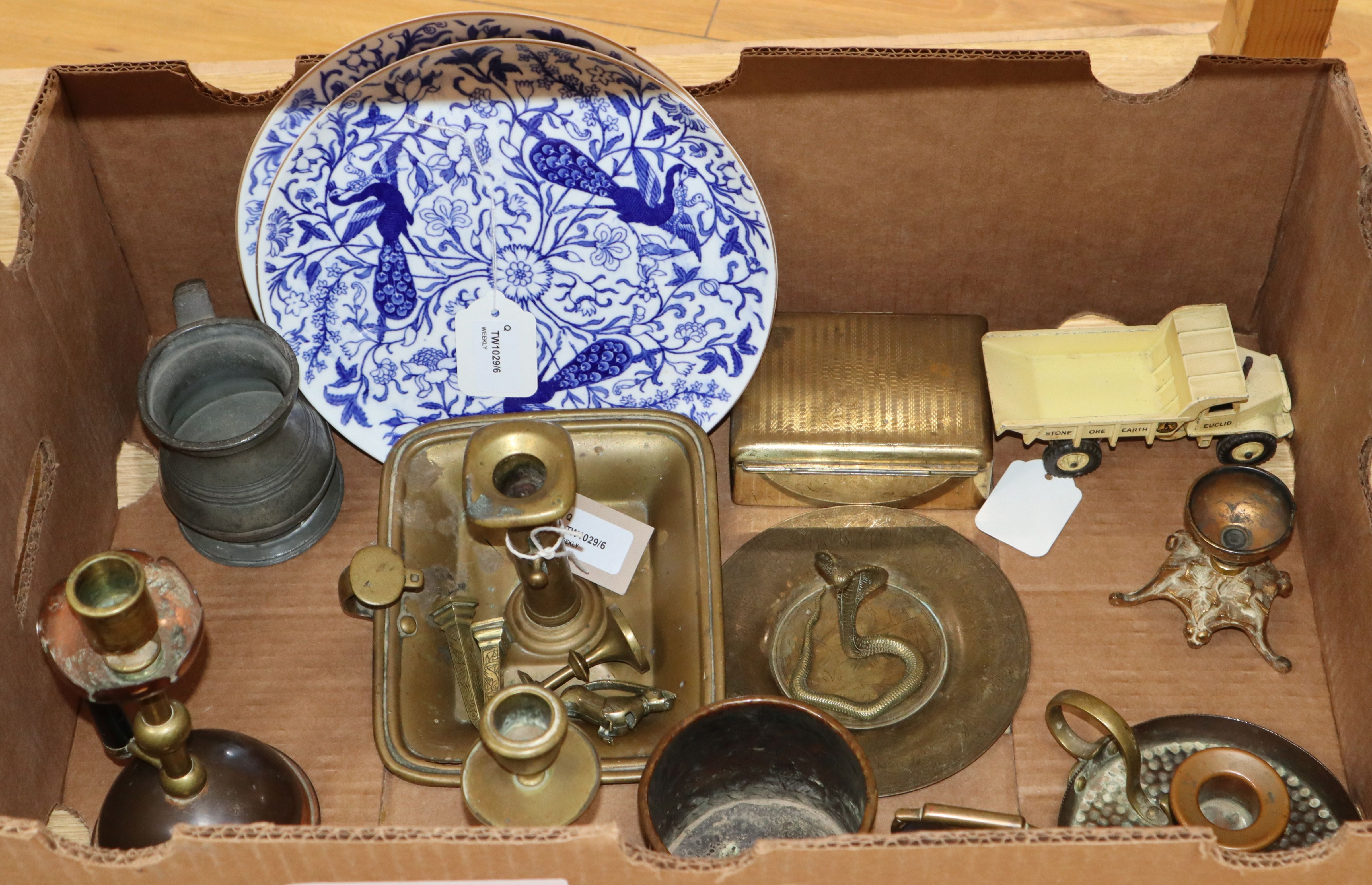 Lot 41 - A pair of Derby plates, a Meccano 'Euclid' dump truck and a small quantity of metalware