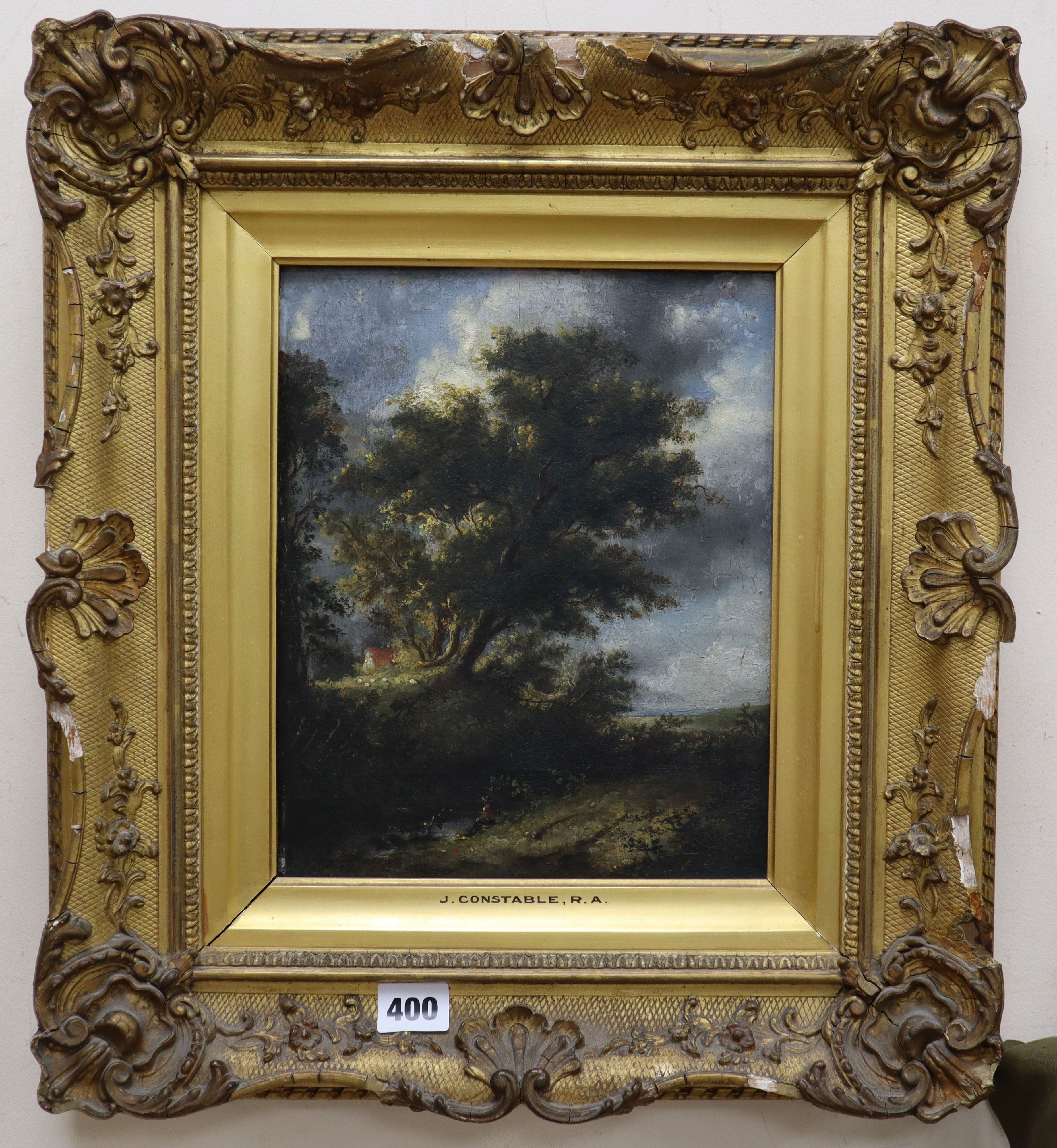 Lot 400 - Manner of John Constable, oil on panel, figure and cottage in a landscape, 28.5 x 23cm
