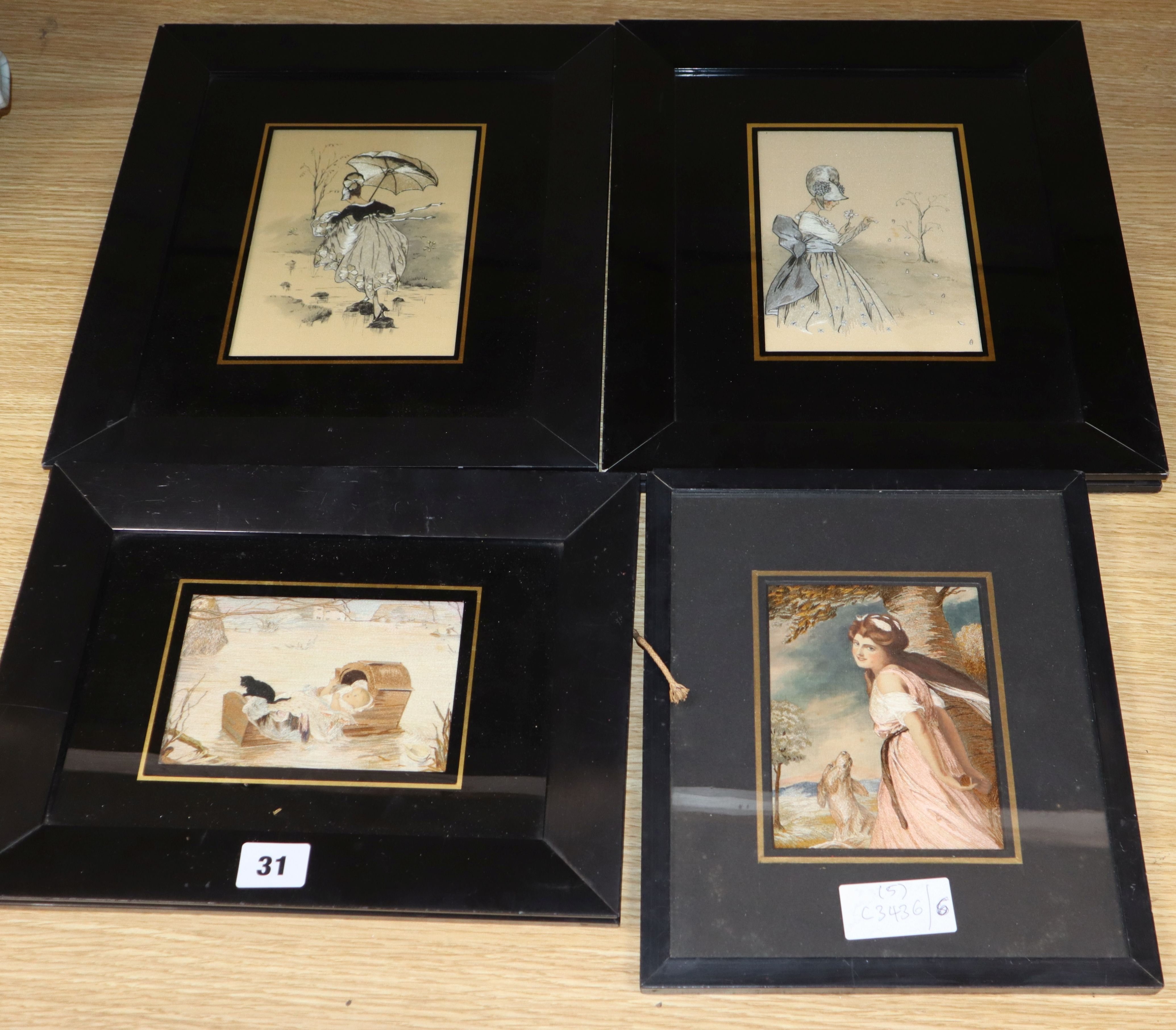 Lot 31 - K. Laing - four early 20th century silk embroidered drawings