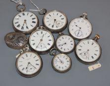 Six assorted silver or white metal pocket watches including Thomas Wheeler, Preston, two other