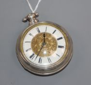 A William IV silver pair-cased key-wind pocket watch having gilt and enamelled dial