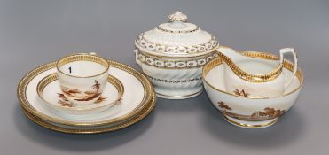 A Chamberlains Worcester part tea and coffee set and a similar sucrier