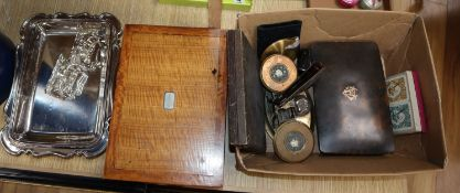 A tortoiseshell box, another, a pair of scales, fan, two compacts, enamel spoons, sewing box and