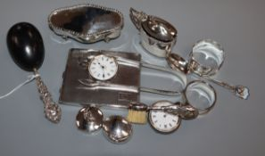 Mixed silver etc. including a silver cigarette case, silver mustard, trinket box, napkin rings,