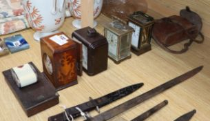 Two carriage timepieces, two others, ensign bellows, camera meter and scales