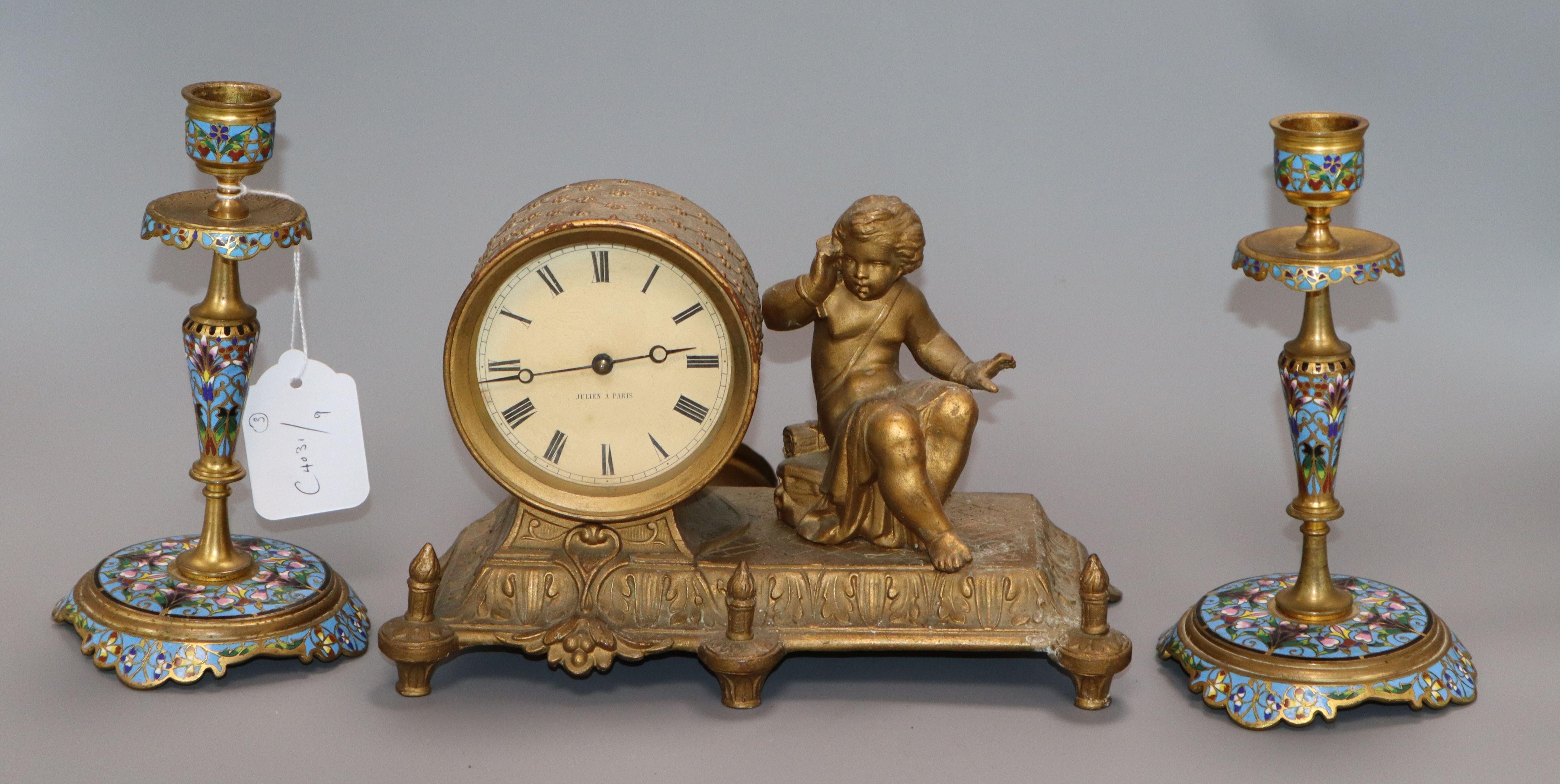Lot 10 - A pair of champleve enamel candlesticks and a gilt mantel clock candlesticks 18cm