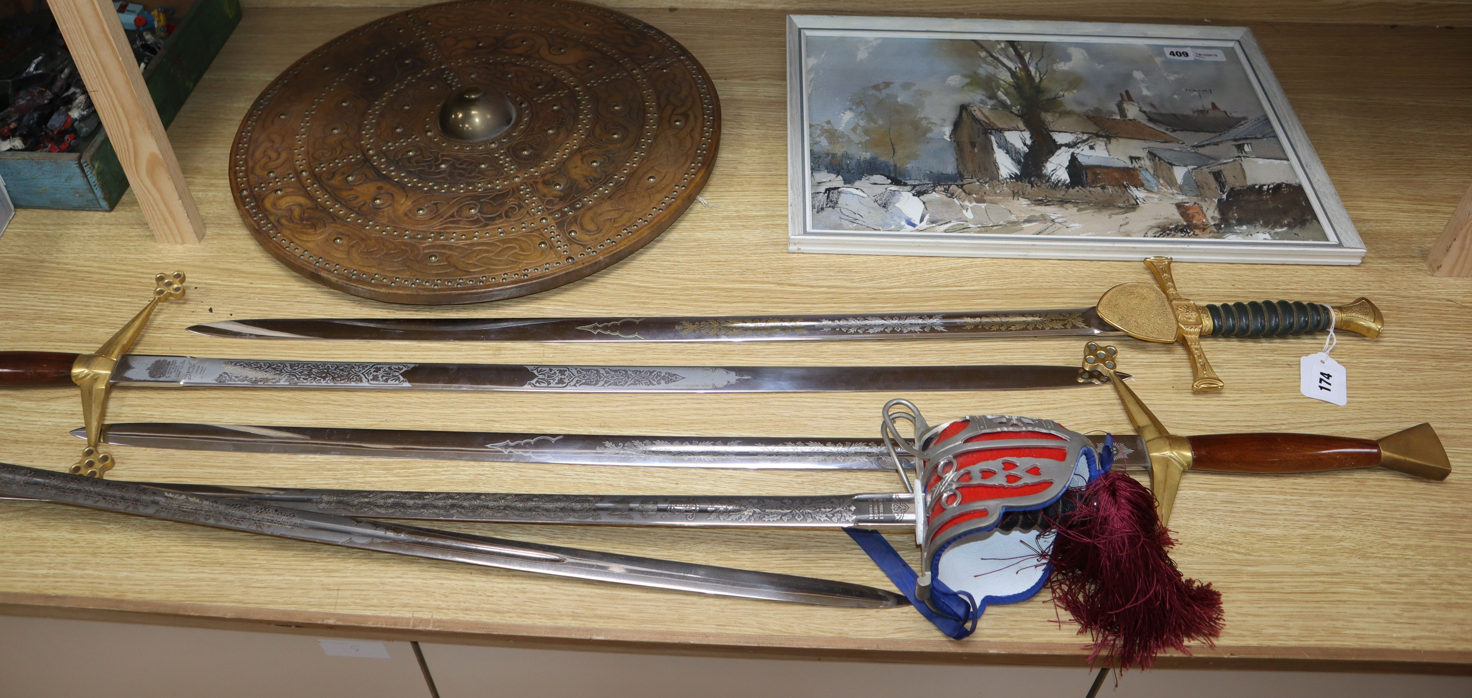 Lot 174 - Five various theatrical swords and a shield