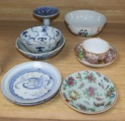 A Chinese Export cup and saucer and seven other items