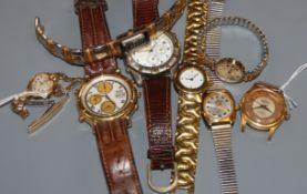 A Seiko Quartz Chronograph on leather strap, another vintage chronograph and six other watches,