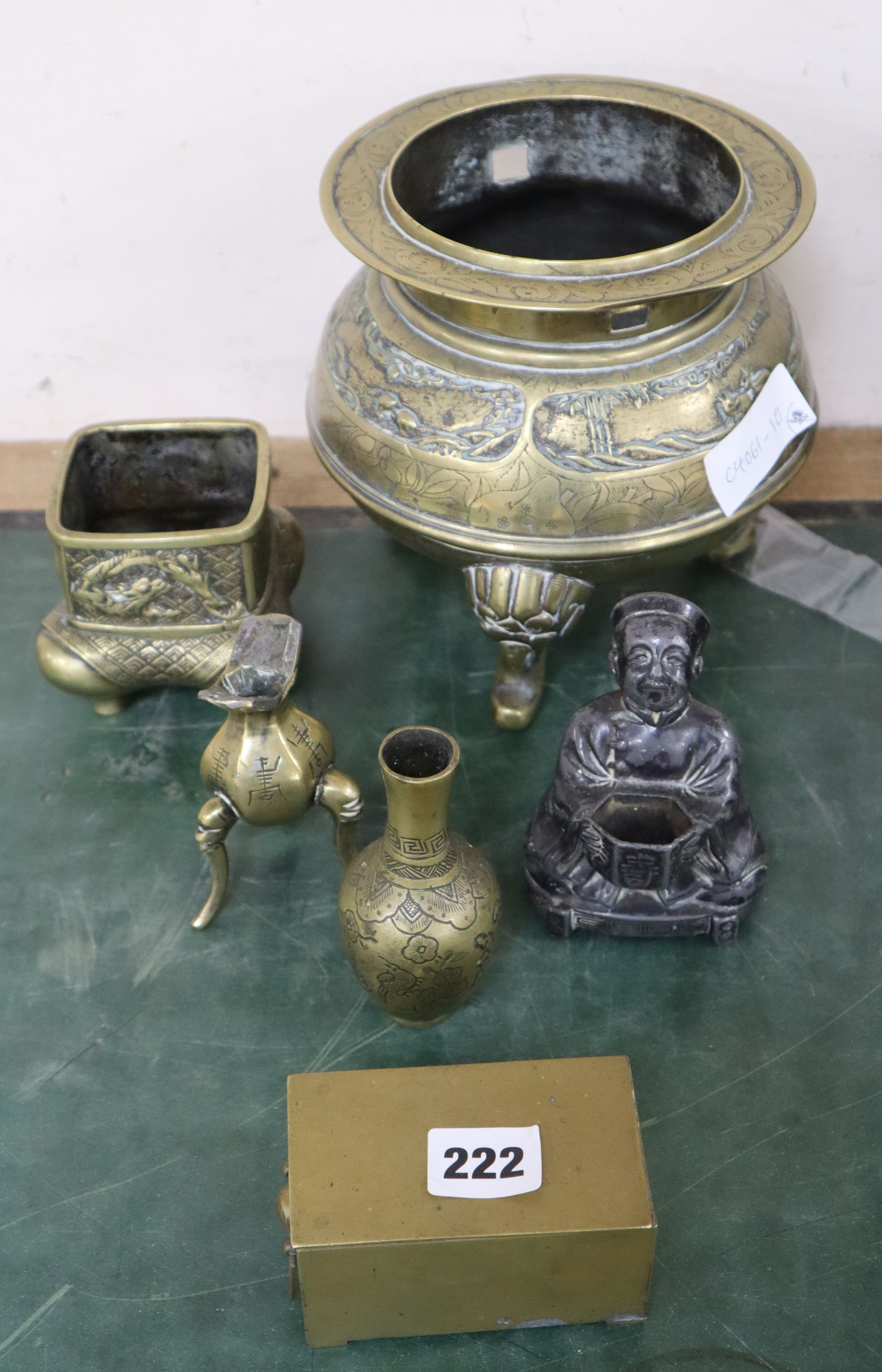 Lot 222 - A group of Oriental metal ware