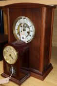 A Bulle Clockette mahogany-cased electric mantel clock and a Victorian oak bracket clock