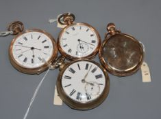 A Victorian silver gilt pair-cased pocket watch by Musson of Louth and three assorted gold-plated