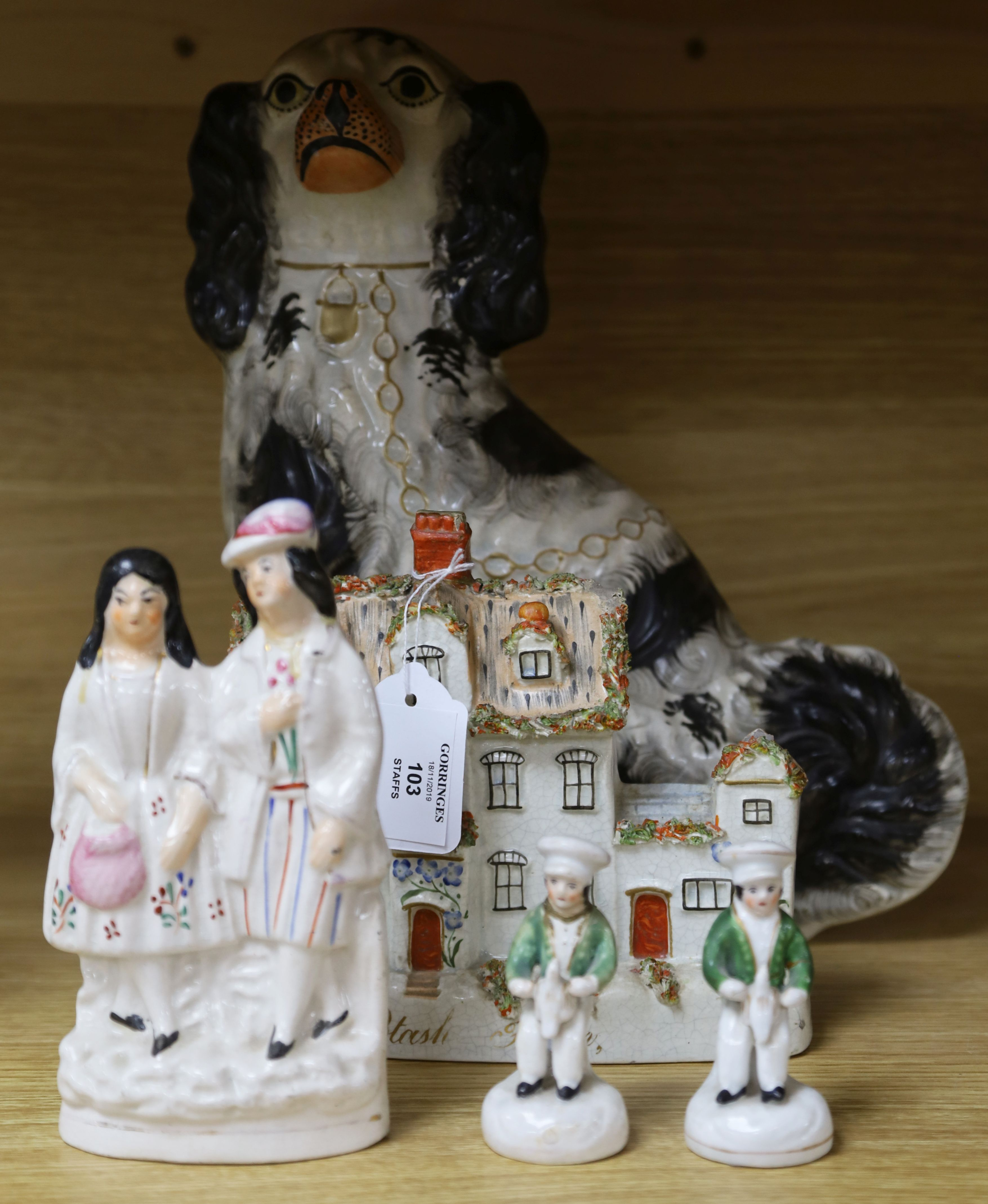 Lot 103 - A small group of Staffordshire figures including a Potash farm model tallest 32cm