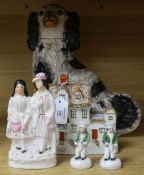 A small group of Staffordshire figures including a Potash farm model tallest 32cm