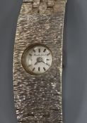 A lady's 9ct white gold Bueche-Girod bracelet watch, 17.2cm approx.