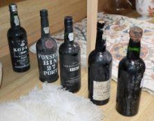 Five bottles of Port