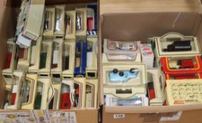 Two boxes of model cars and vans by Lledo