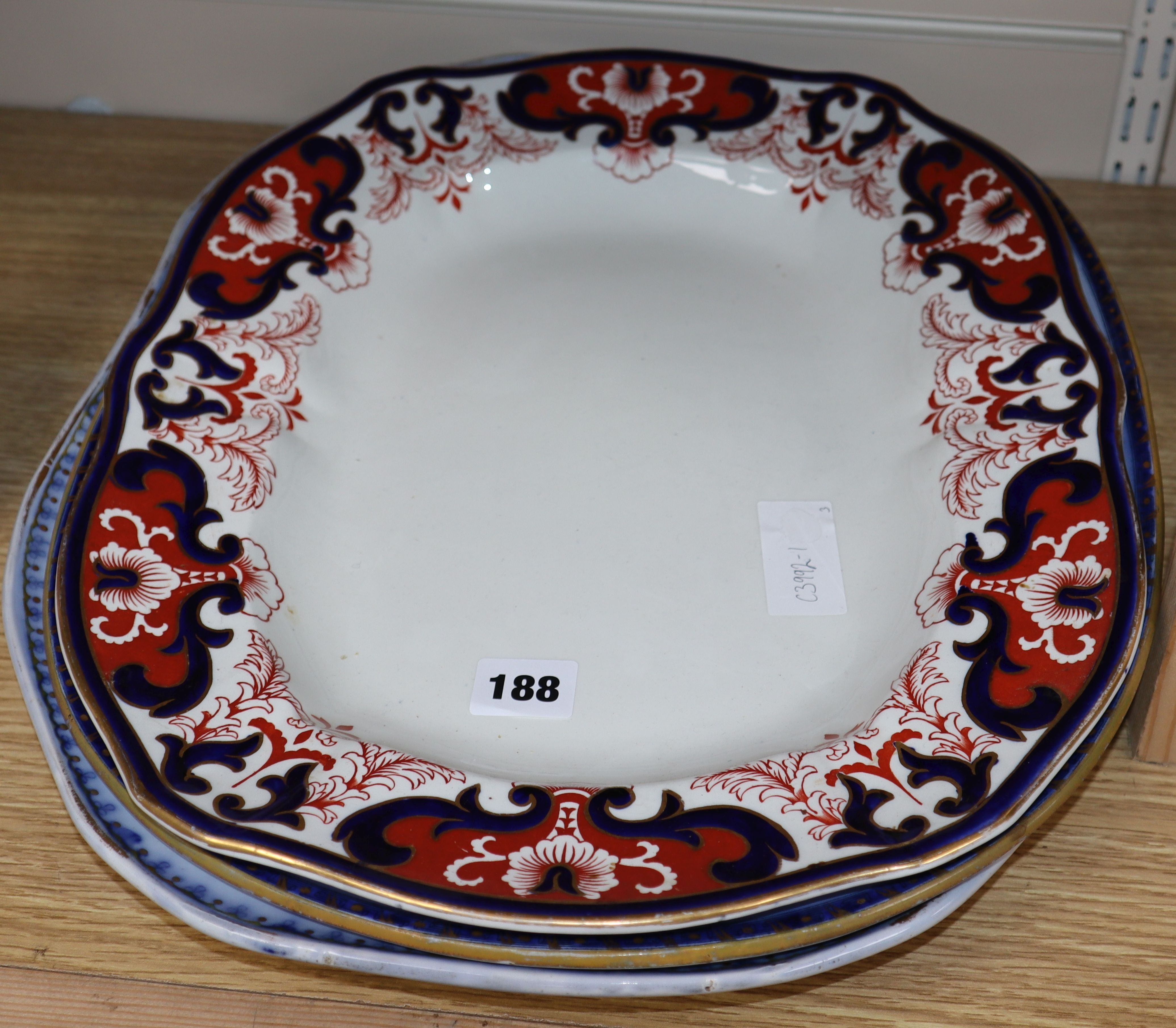 Lot 188 - Two copeland spode meat dishes and a Royal Copenhagen Crown Derby meat dish