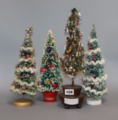 A miniature beaded table christmas tree decorations and three others tallest 36cm