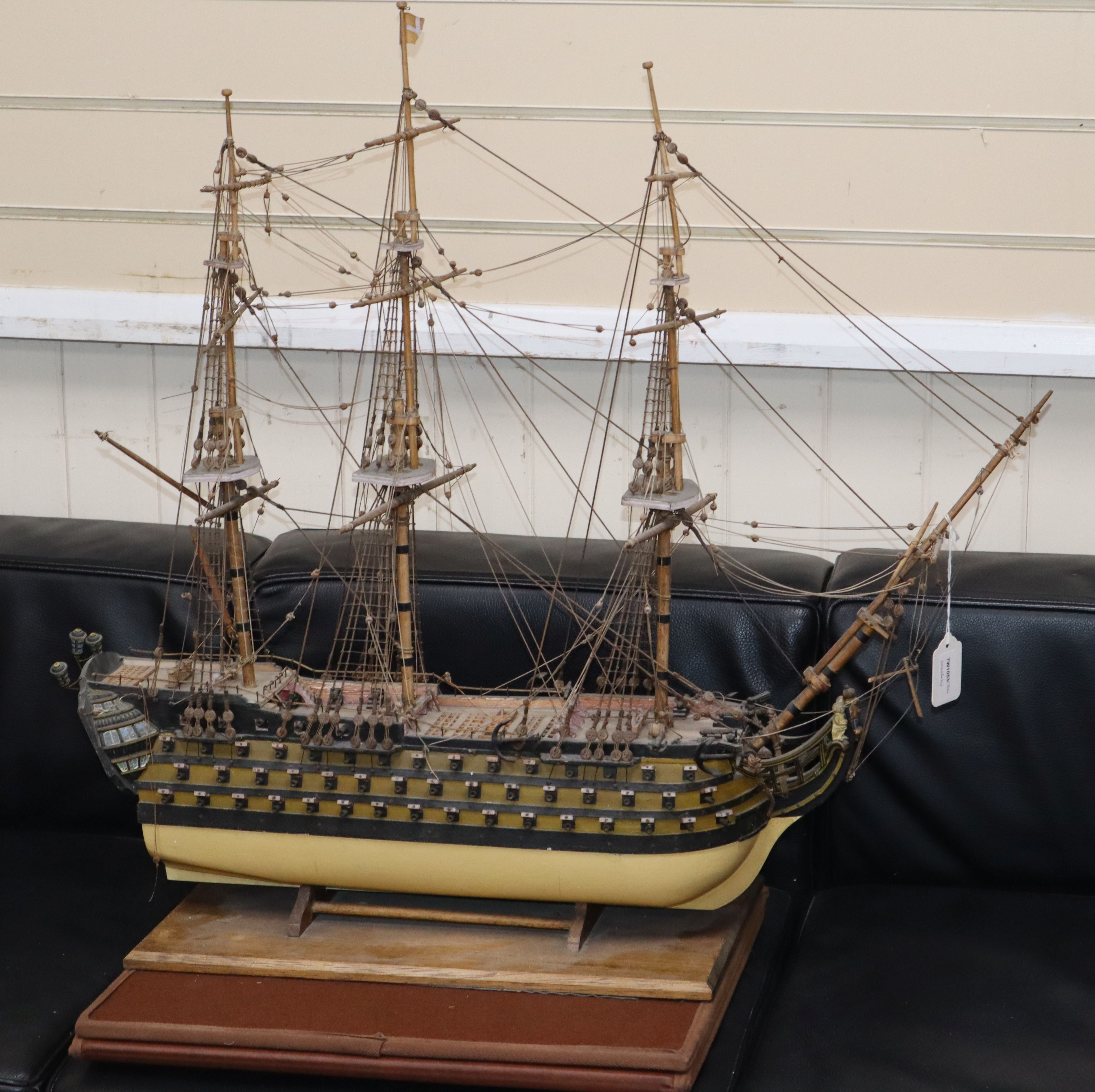 Lot 225 - A fully-rigged model of HMS Victory