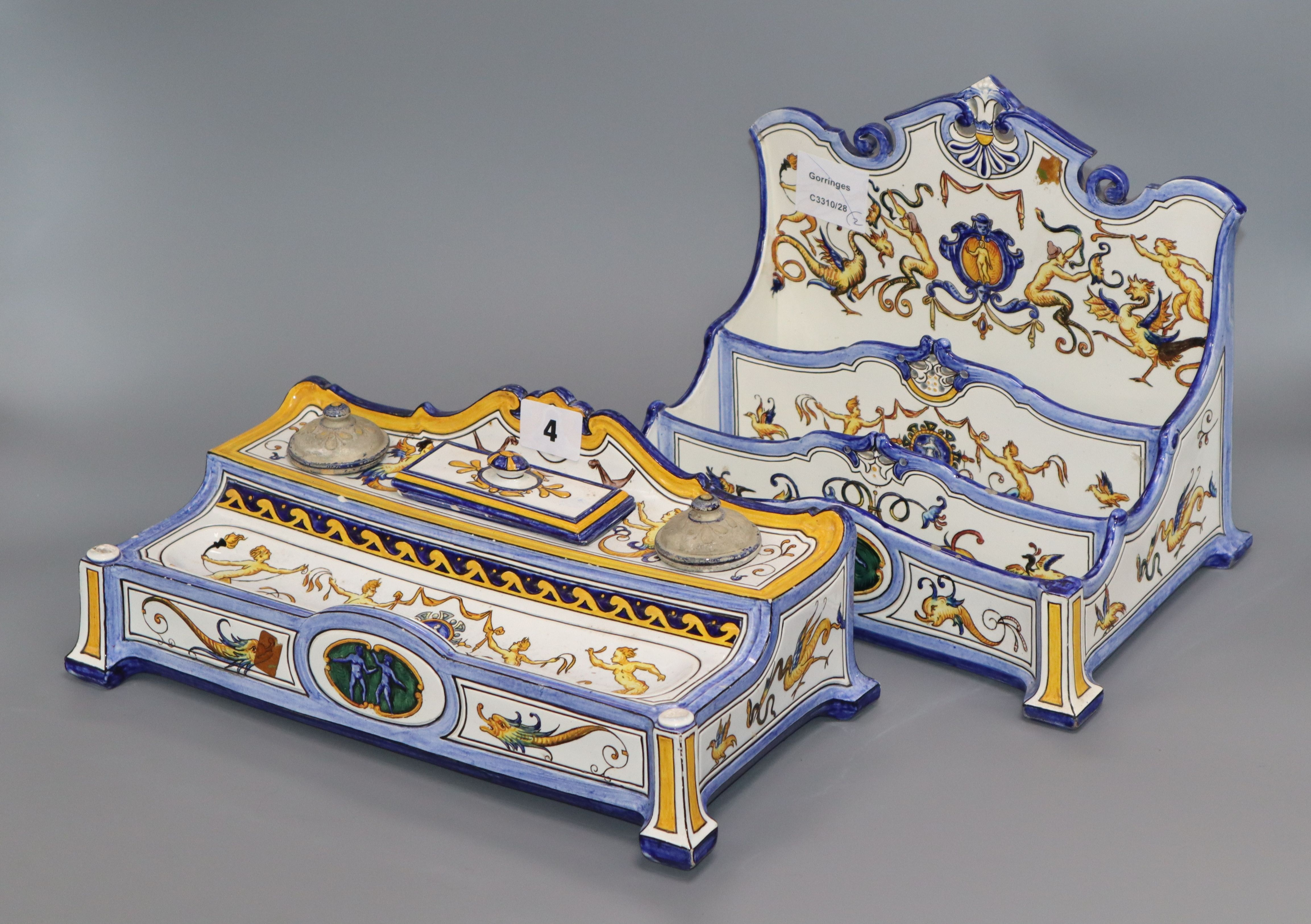 Lot 4 - A Gien faience inkstand and a similar stationery rack