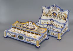 A Gien faience inkstand and a similar stationery rack