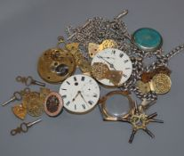 Four silver or white metal albert chains, three pocket watch movements and assorted watch parts