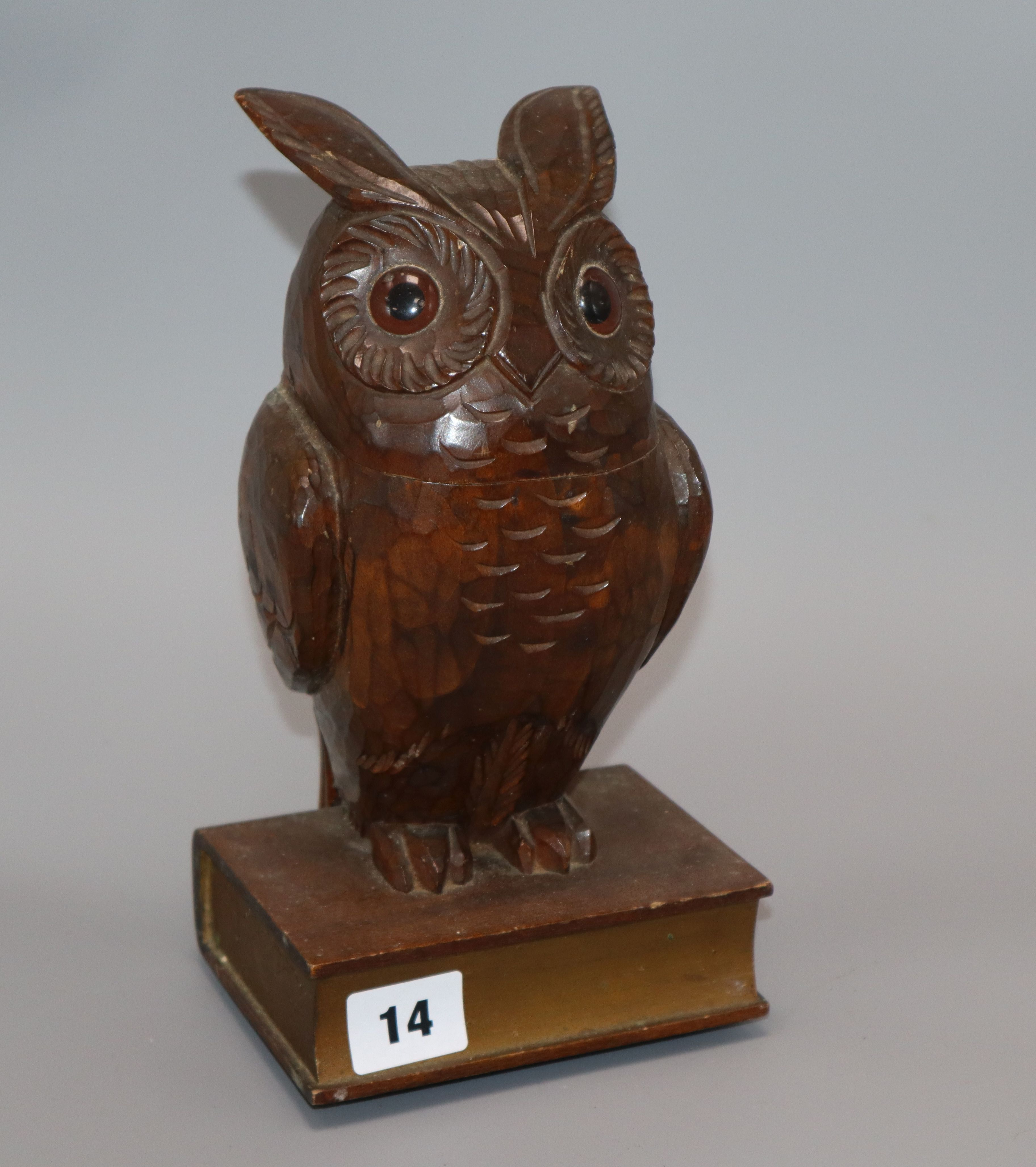 Lot 14 - A Black Forest musical 'owl' box height 25cm