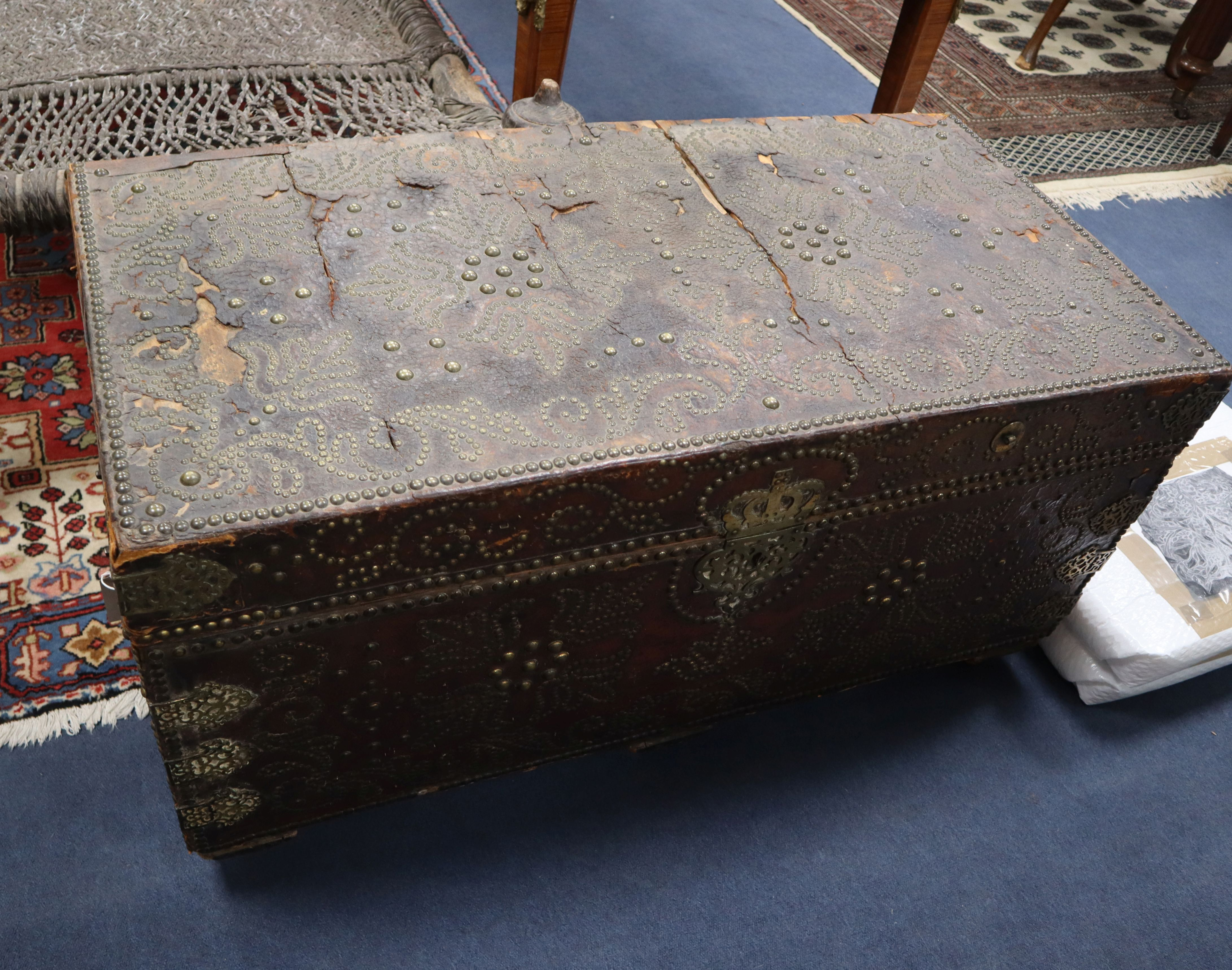 Lot 921 - A 19th century studded leather trunk, by Morgan & Sanders (1801-20) (one handle with stamped