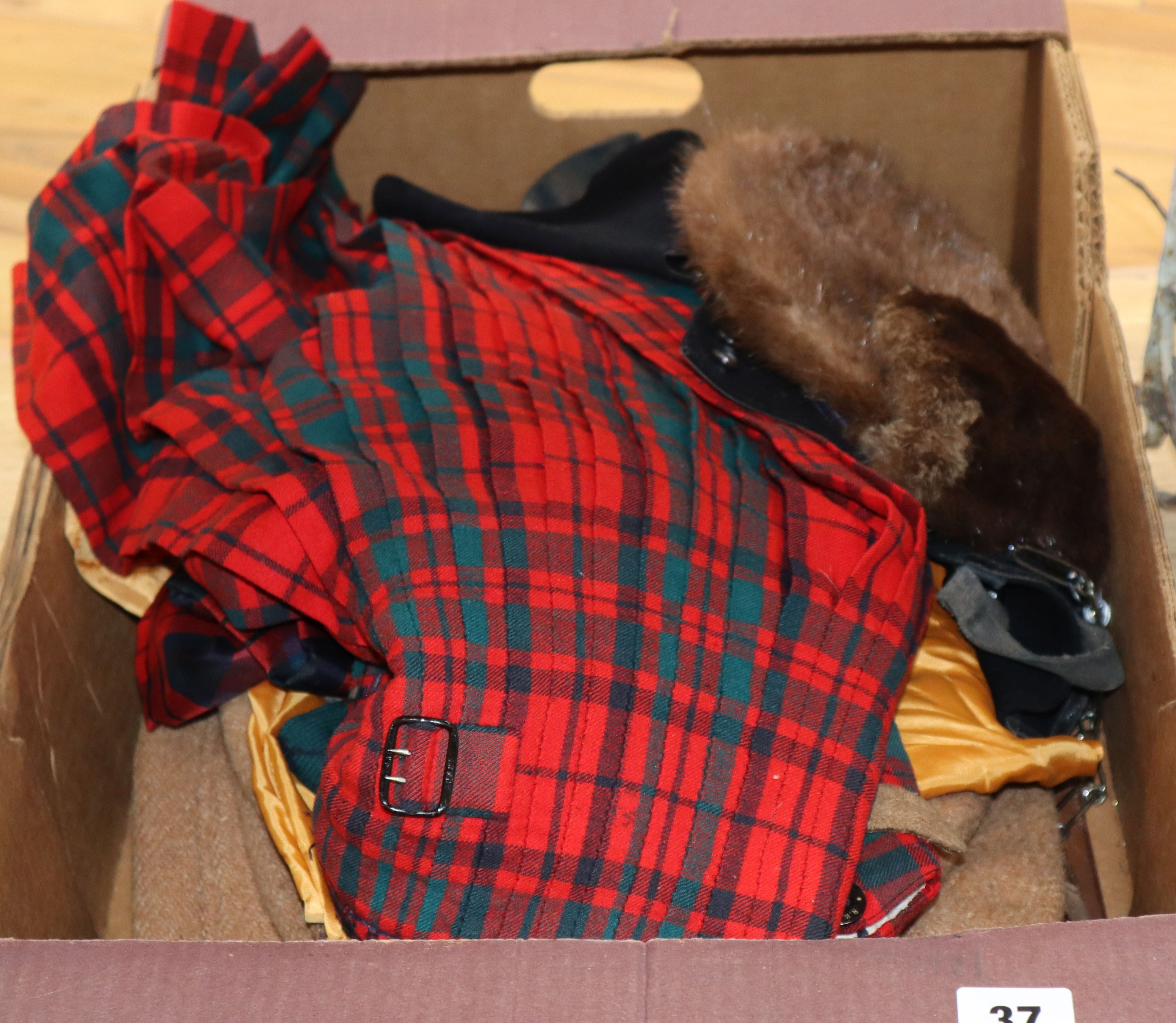 Lot 37 - A beaver sporran, various vintage kilts and other clothing