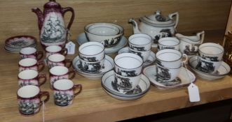 A collection of English porcelain bat-printed teaware, probably New Hall and a Grays Pottery