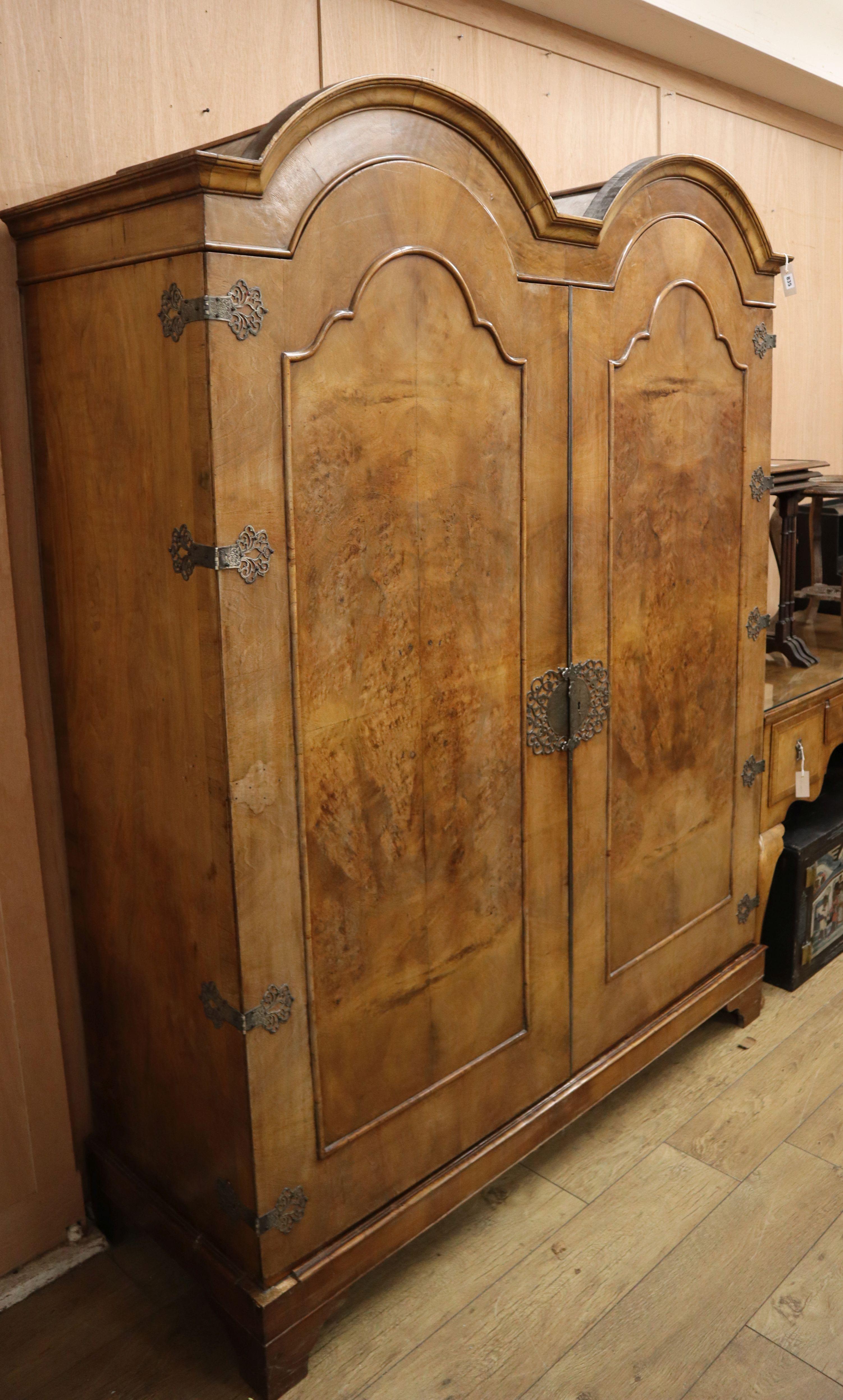 Lot 835 - A 1920's Queen Anne style figured walnut wardrobe Wardrobe W.158cm