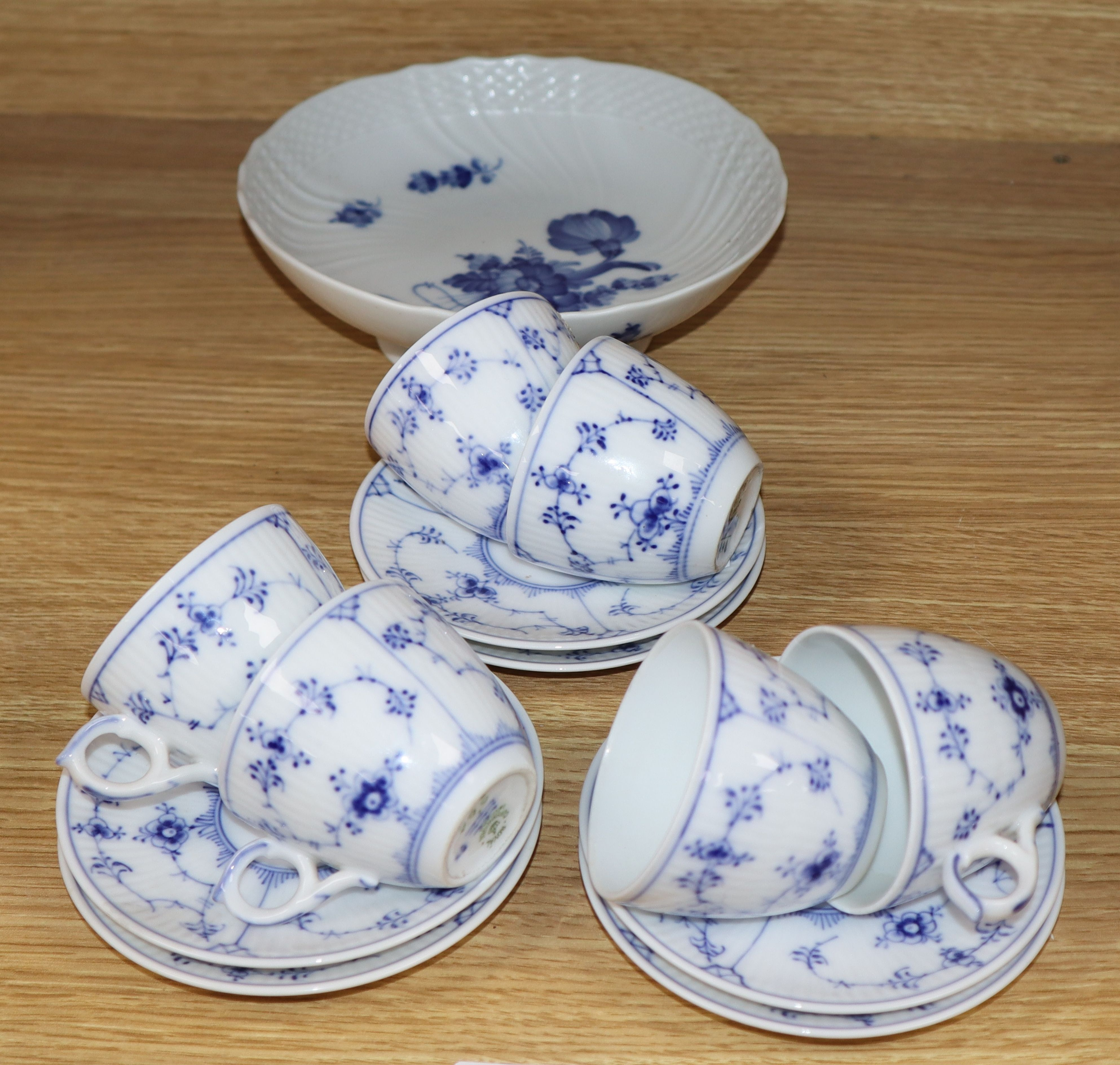 Lot 82 - A Royal Copenhagen part coffee set and a footed dish