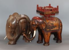 A Japanese lacquer elephant and a wooden elephant tallest 30cm