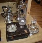 A Mappin and Webb silver-plated samovar, a four piece tea set and sundry plate