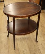 An early 20th century Czechoslavakian oval two tier occasional table W.65cm