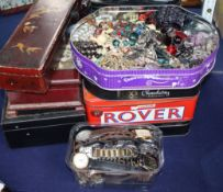 A large collection of costume jewellery, wristwatches and sundries