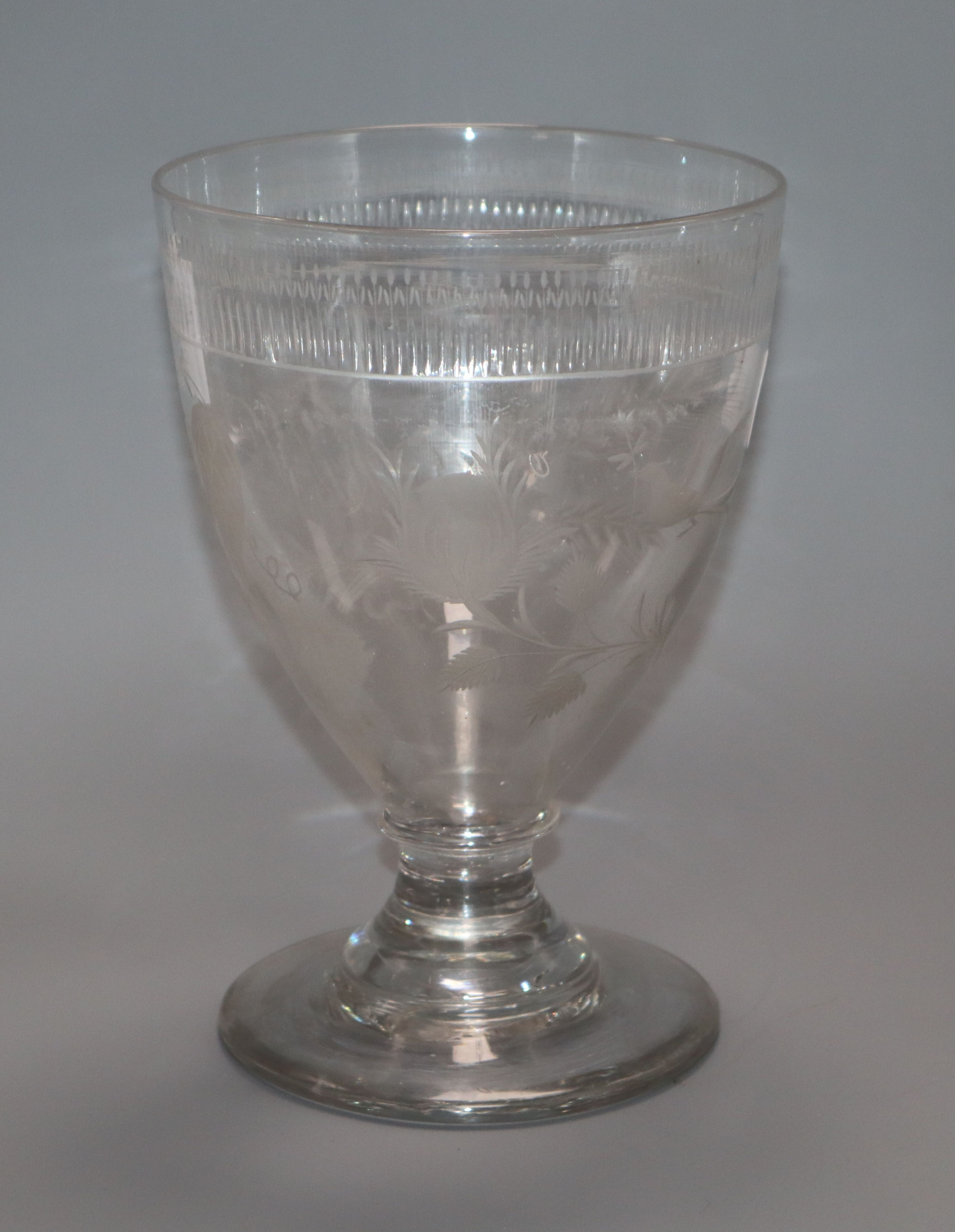 Lot 2 - A large George III wheel engraved glass rummer height 20cm