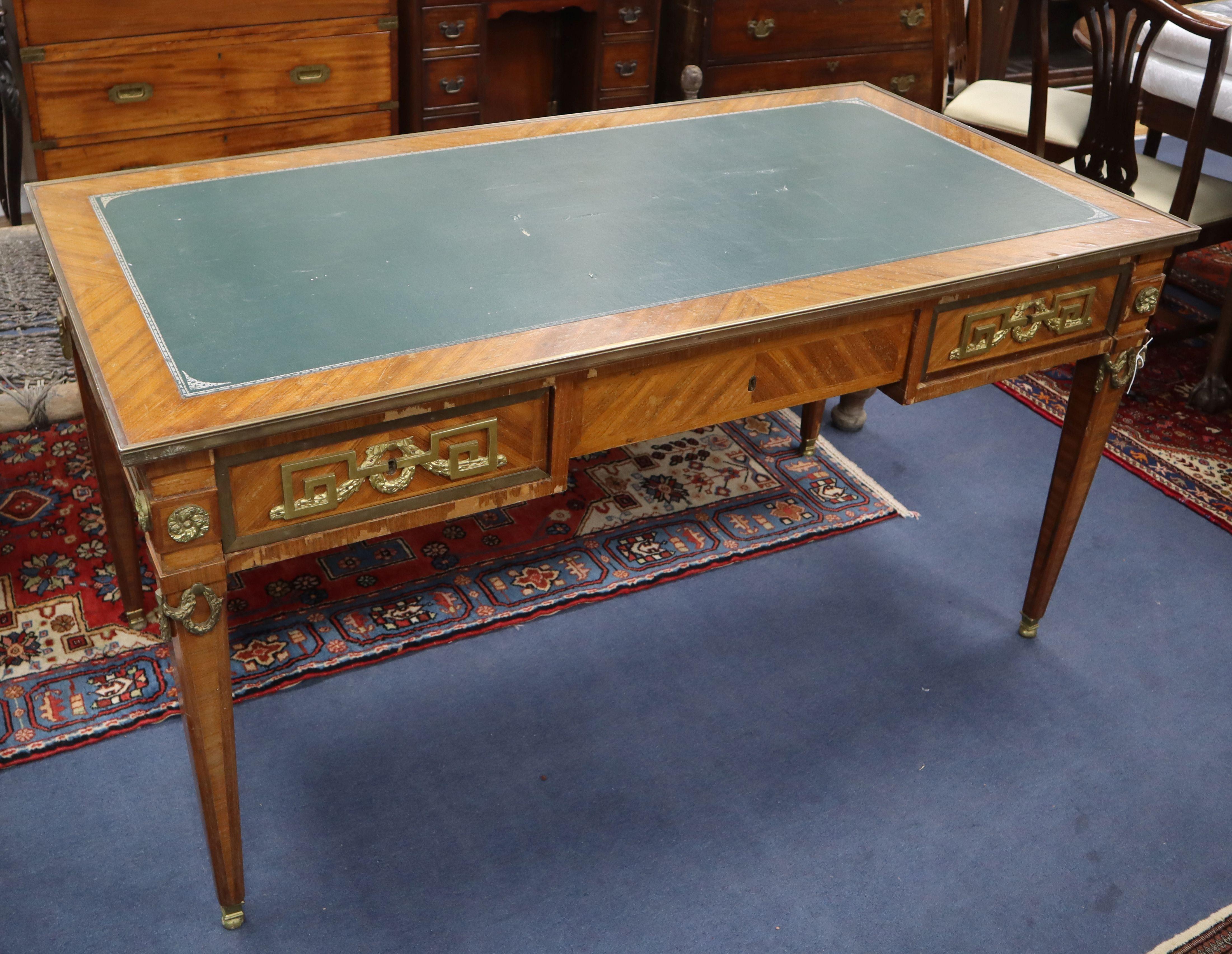Lot 923 - A gilt metal mounted kingwood bureau plat W.150cm