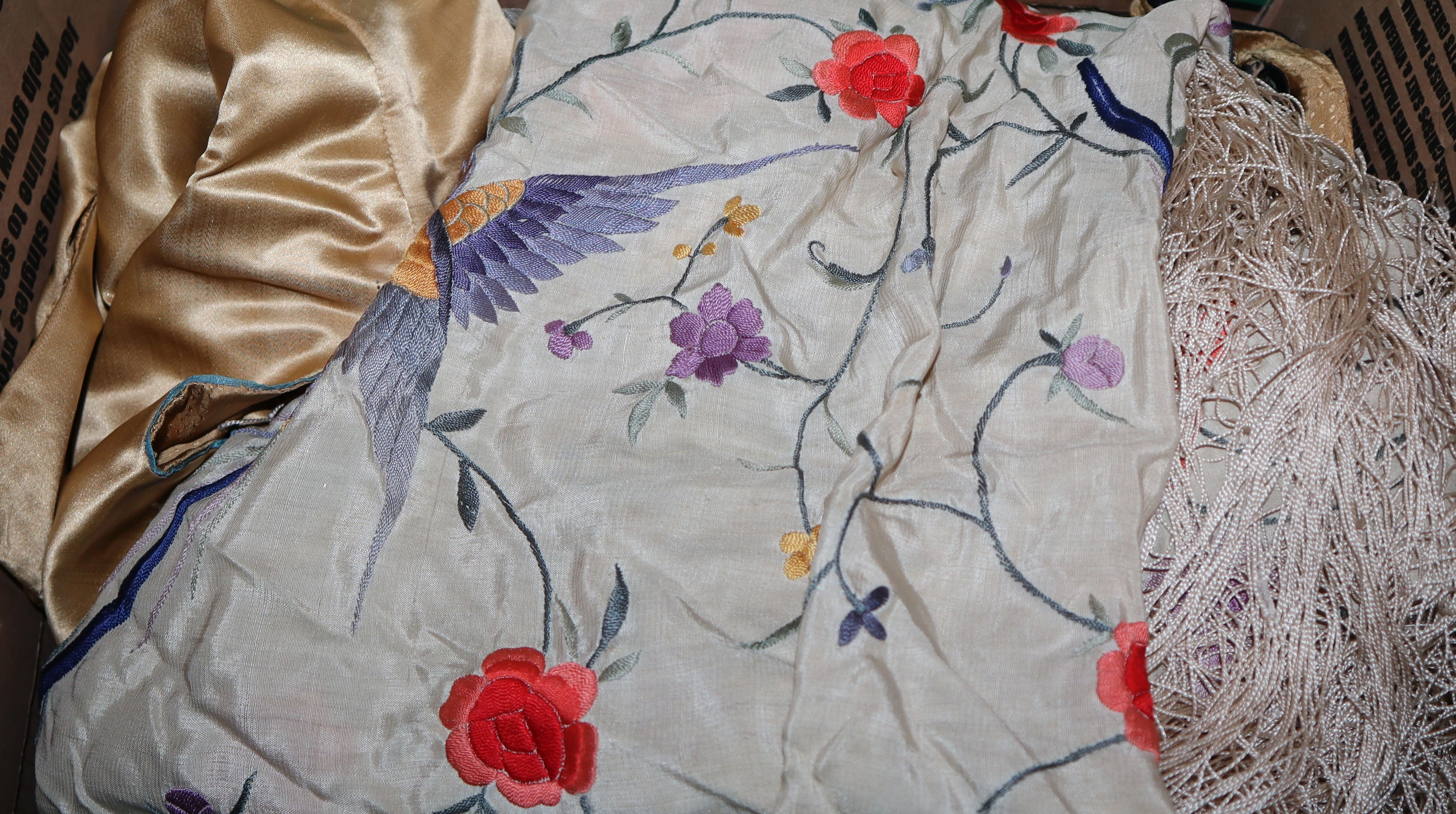 Lot 142 - An embroidered shawl, a Chinese jacket, matching trousers and top