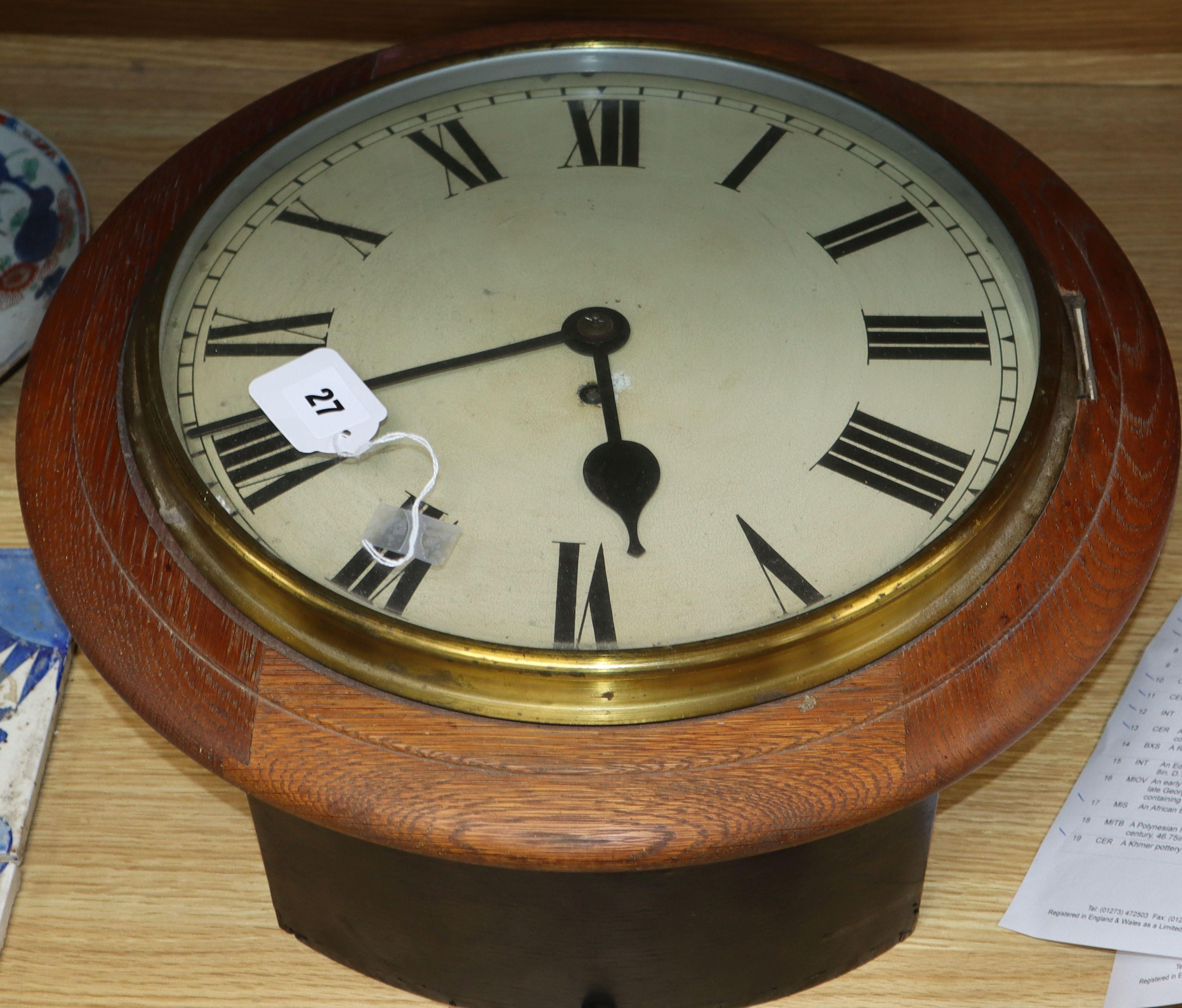 Lot 27 - A fusee wall clock diameter 46cm