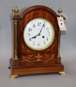 An Edwardian inlaid mahogany clock by Dent height 34.5cm
