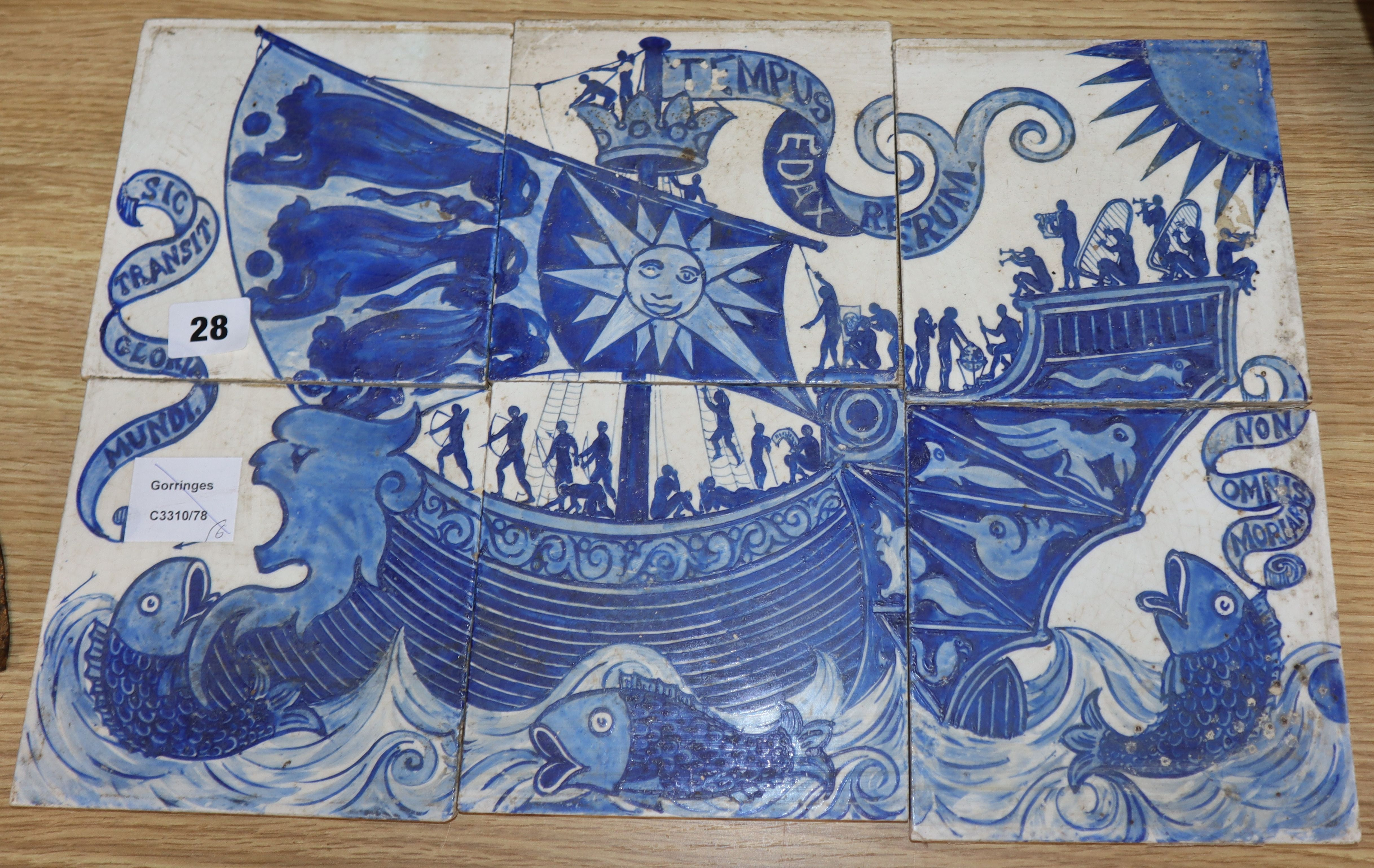 Lot 28 - A set of six Arts and Crafts tiles