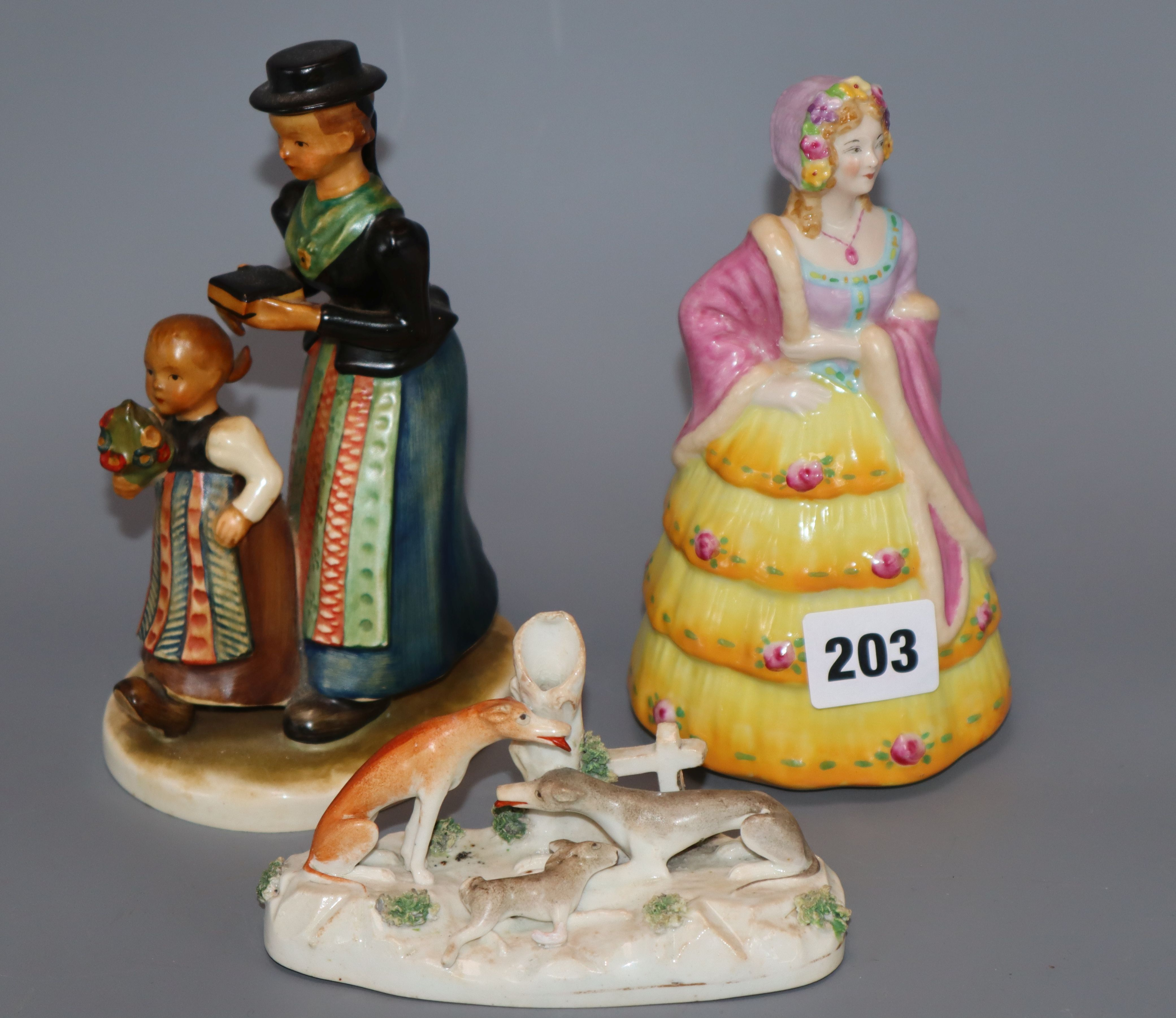 Lot 203 - A Goss Lady Betty figure, a Goebel group and a Staffordshire porcelain greyhound group, c.1830-50