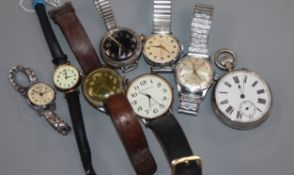 A George V Ingersoll Victory wrist watch with black dial and other wrist watches.