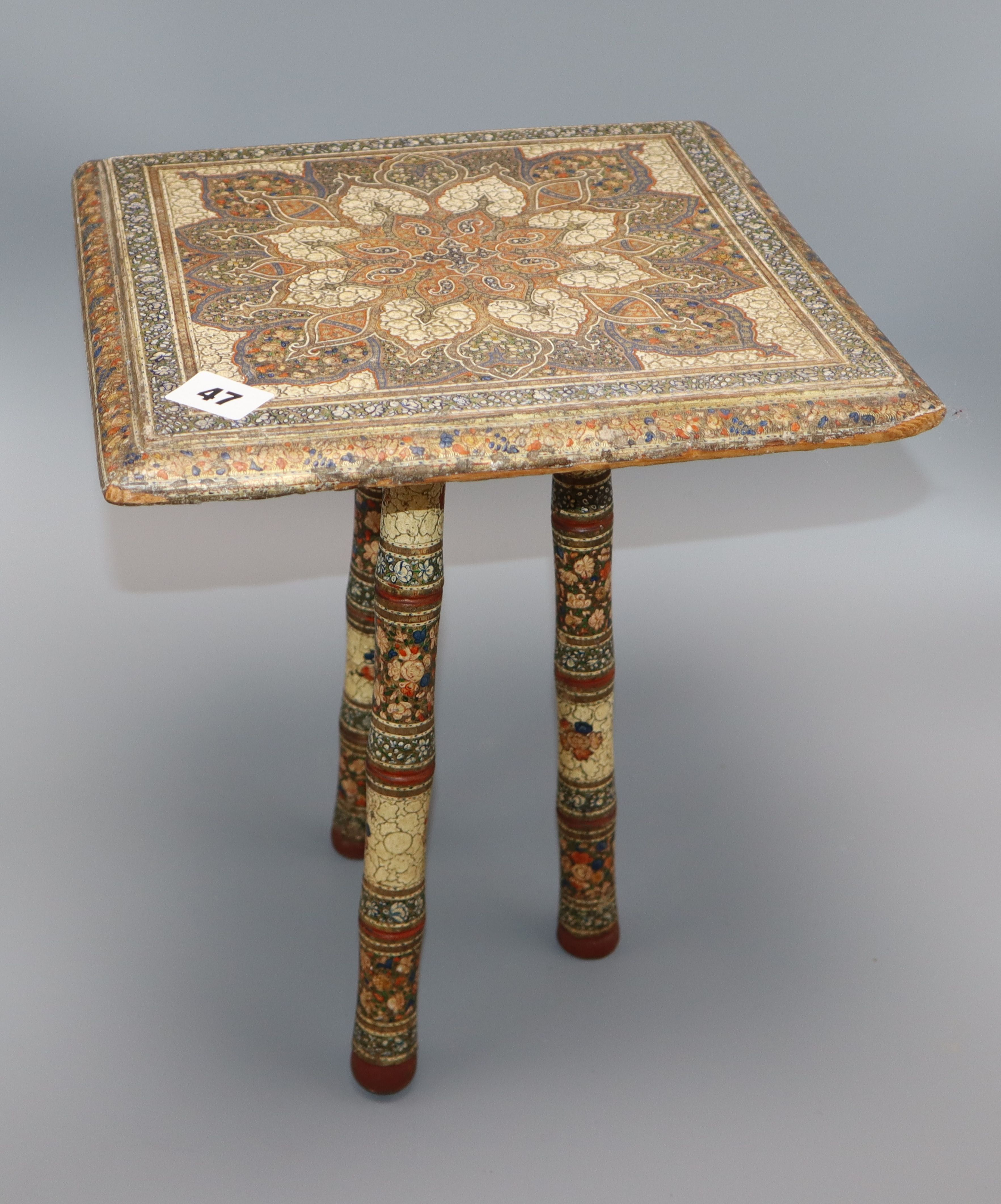 Lot 47 - A 19th century Kashmiri painted wood tripod table height 36cmProvenance - from the family of a