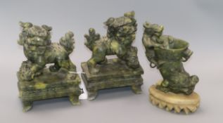 Two hardstone lions and a dragon conch tallest 18cm